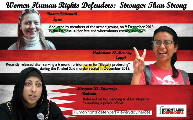 Razan Zaitouneh, Mahienour El-Massry and Maryam Al-Khawaja, from Syria, Egypt and Bahrain respectively, are three examples of courageous women human rights defenders facing great risks because of their fight for human rights and democracy in the Middle East and Northern Africa region.  This short video report reviews recent developments in their cases.