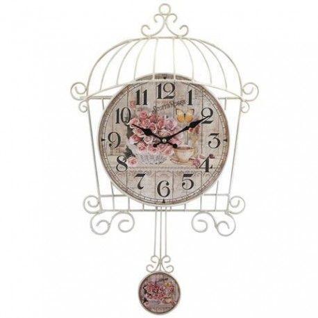Fantástico reloj circular de pared en forma de jaula con péndulo. Dará un toque romántico a tu hogar por sus flores. ¡Marca las horas con tu mejor decoración!