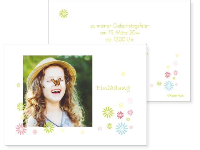 Gerberawiese Klappkarte links 4-seitig 148x105mm grün, Geburtstag, Einladungskarten, Geburtstagskarten, Kindergeburtstag, Kids, Birthday,  Party, Birthdayparty