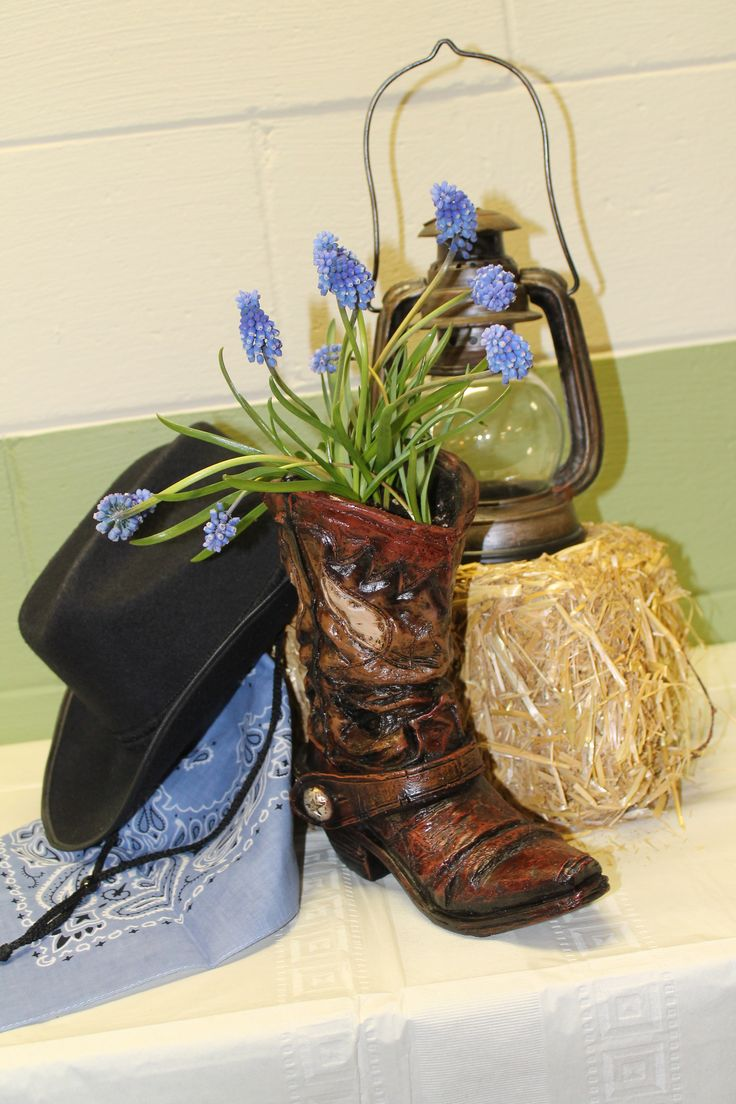western party arrangement decoration cowboy boot hat lantern straw flower - Western Party Decorations