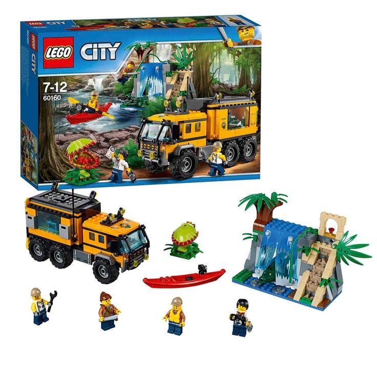 Breng de uitrusting aan boord van het mobiele laboratorium en ga op zoek naar de verborgen waterval! Terwijl de monteur aan de truck sleutelt, onderzoekt de wetenschapper de omgeving. Pas op voor de krokodil in het water en ontdek iets heel bijzonders in de tempel... Er gebeurt altijd wel iets spannends in de LEGO City jungle! Afmeting:verpakking 38 x 26 x 7 cm. - LEGO City 60160 Jungle Mobiel Laboratorium