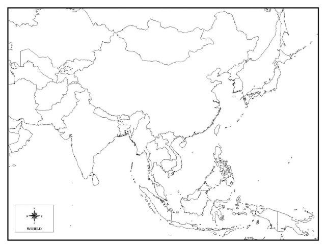 Outline Map Of Asia With Countries Labeled Blank For Asia Map