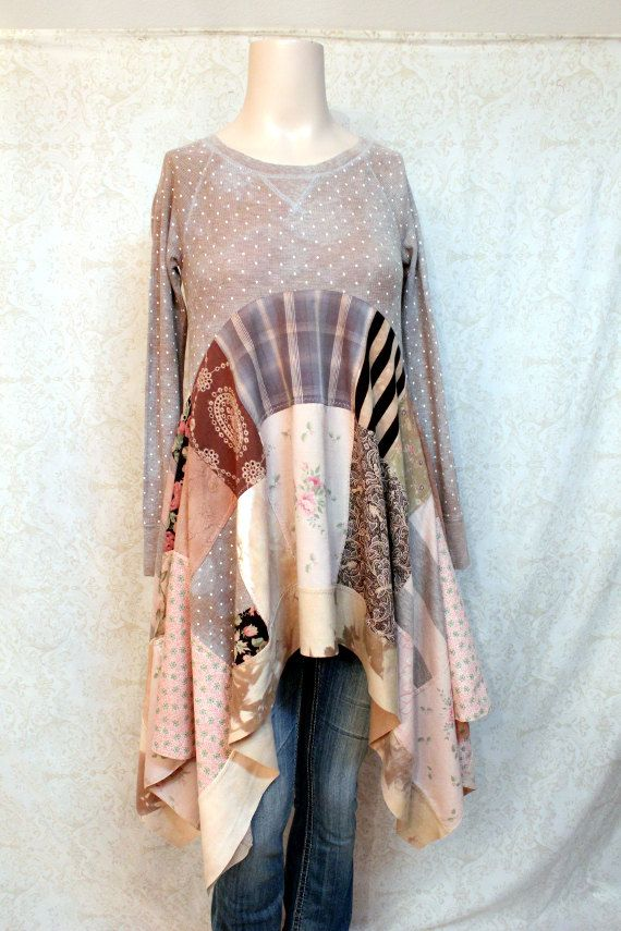 REVIVAL vrouwen Upcycled Boho Shirt Shabby chique door REVIVAL