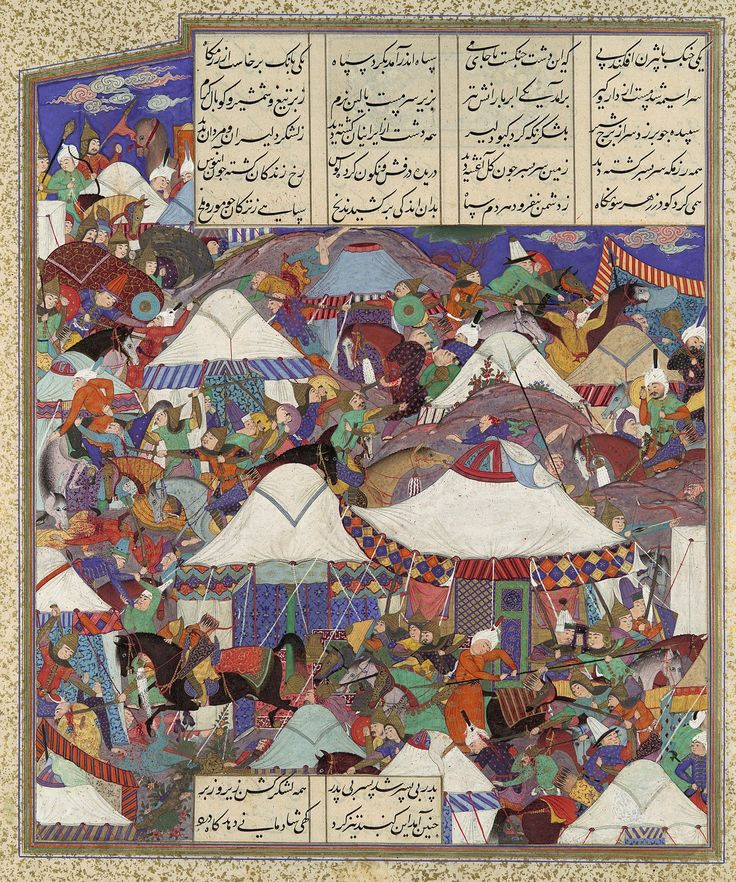 "Persian maces being used in battle. ""The Besotted Iranian Camp Attacked by Night"", Folio 241r from the Shahnama (Book of Kings) of Shah Tahmasp. Author: Abu'l Qasim Firdausi (935–1020). Artist: Painting attributed to Qadimi (active ca. 1525–65). Folio from an illustrated manuscript. Date: ca. 1525–30. Iran, Tabriz. Met Museum."