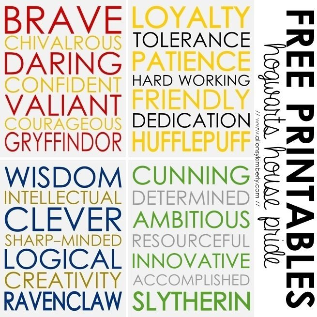 Free Printables: Hogwarts House Pride  ~  Show off your house pride with these Harry Potter inspired printables featuring traits from each of the four Hogwarts houses; Gryffindor, Hufflepuff, Ravenclaw and Slytherin.  Downloads @: http://www.allonsykimberly.com/2013/09/free-printables-hogwarts-house-pride.html