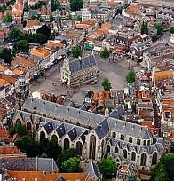 Gouda's city centre with the City Hall and St. Jan's cathedral