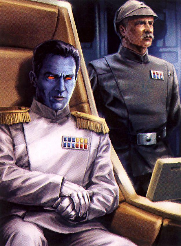 Grand Admiral Thrawn and Captain Pellaeon aboard the Chimaera.