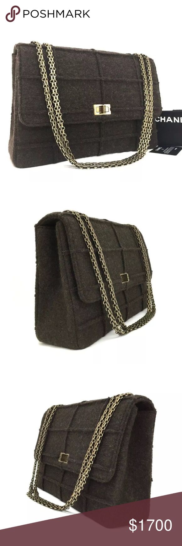 Chanel Jumbo 2.55 Reissue Wool Chain Bag Authentic. Like new condition. Comes with dust bag and authenticity card. CHANEL Bags Shoulder Bags