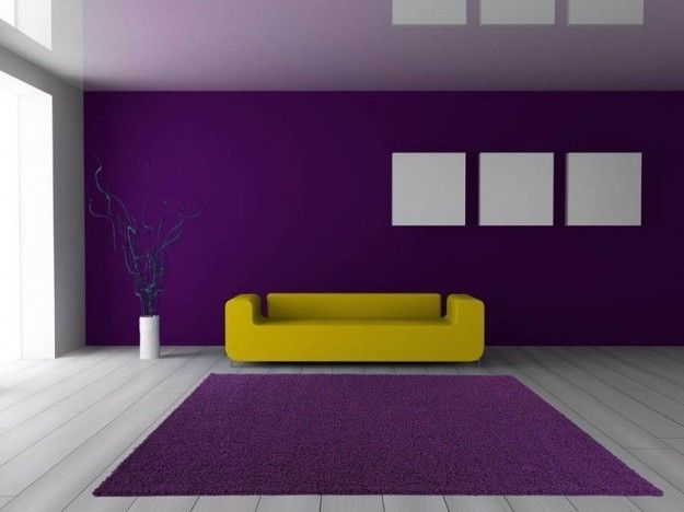 Viola e giallo - Come abbinare il divano giallo alle pareti viola.