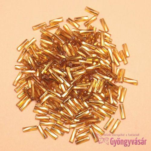 Ezüst közepű aranyszínű, 7 mm-es csavart cseh szalmagyöngy (10 g)