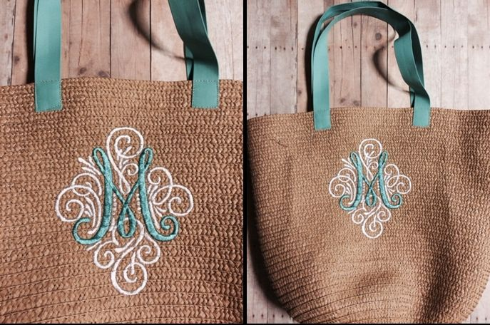 Marybeth - Straw bag from Target - Monogram (Adorn Ornamental Monogram) from Designs by JuJu