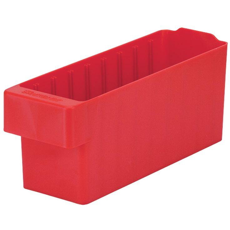 "Akro-Mils 31142 AkroDrawer Plastic Storage Drawer, 11-5/8"" L x 3-3/4"" W x 4-5/8"" H, Red, Case of 6"