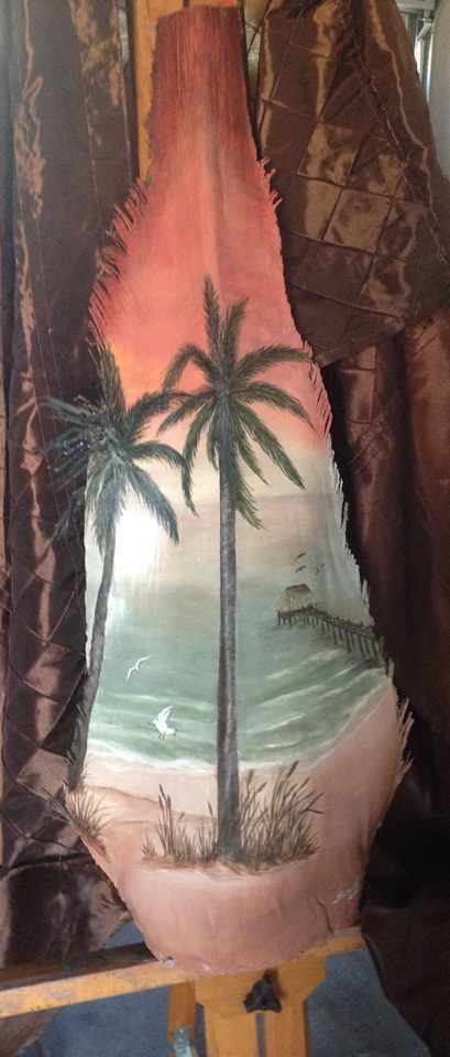 Acrylic on palm frond
