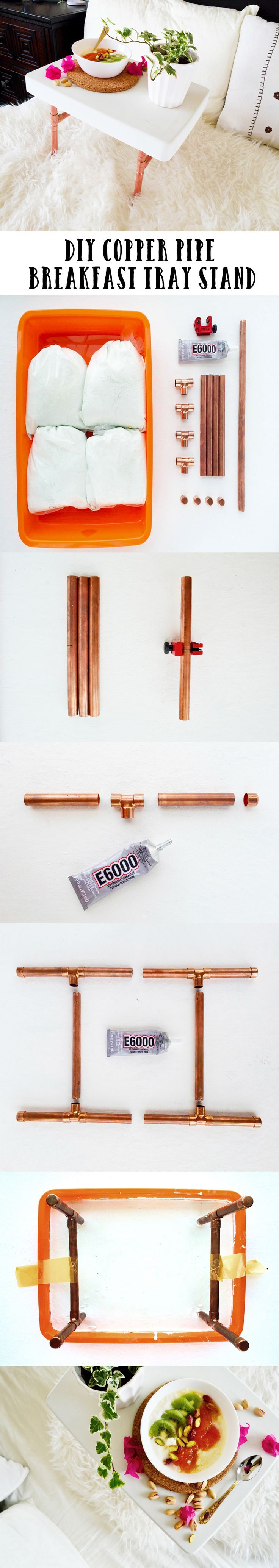 DIY Copper Pipe Breakfast Tray Stand – #Breakfast #Copper #DIY #pipe #Stand #Tra…