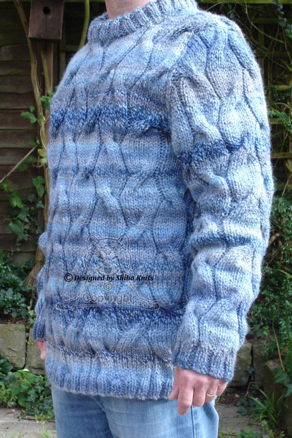 Men's Sweater Chunky Cable Sweater Blue Ladies by ShibaKnits