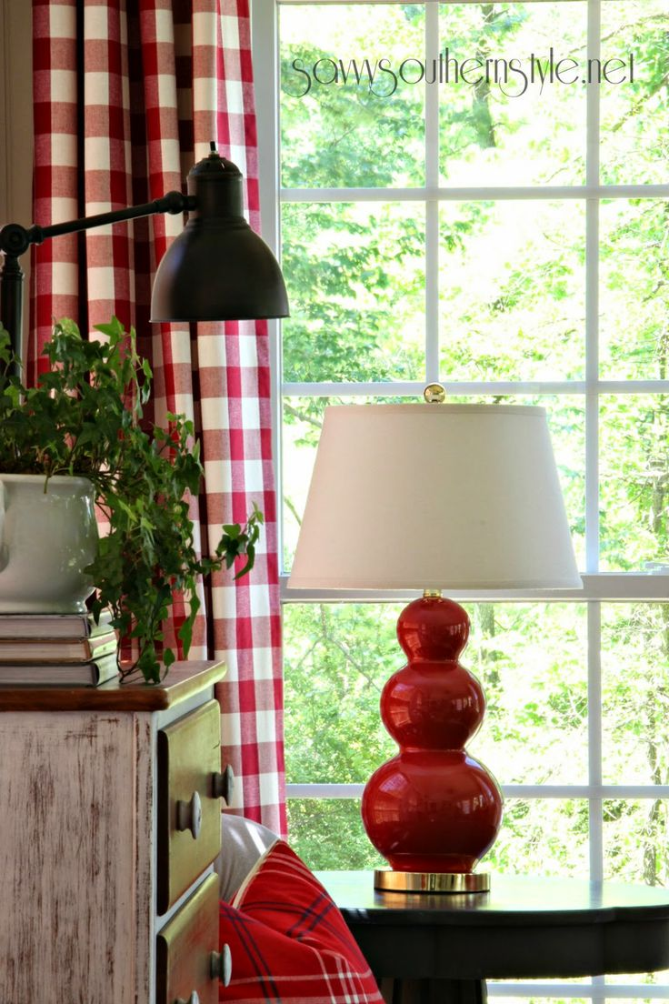 Black and white buffalo check curtains - Savvy Southern Style The Sun Room Spring 2014 Buffalo Check Curtainsred