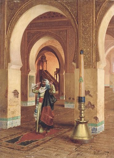 """RUDOLPH ERNST. THE PRAYER. oil on panel. 40 × 29,5 cm. Signed """" R. Ernst """" lower right and """" a Hemeen """" on the reverse. Provenance : CHRISTIE'S, London, Orientalist Art, wednesday 02 / 07 / 2008; Estimate : 130,000 - 190,000  €."""