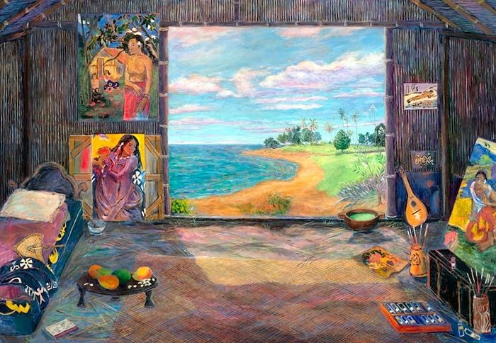 Gauguin's Studio - Tahiti, 1892  by Damian Elwes British painter , currently residing in the United States