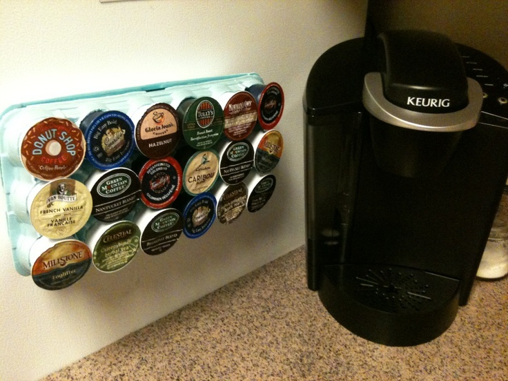 K Cup Holder Out Of An Egg Carton Glued Magnets To The