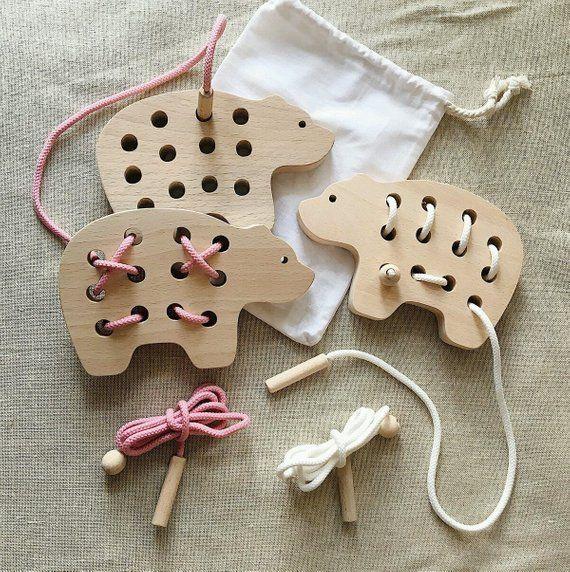 Holzschnürung Spielzeug Geschenk für Kinder Montessori Toys – Eco Friendly Toy