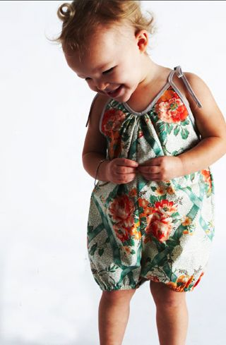 Garden Romper: Handmade from vintage fabrics. No two are alike. 100 % cotton. Sizes 6 mos - 2 years.