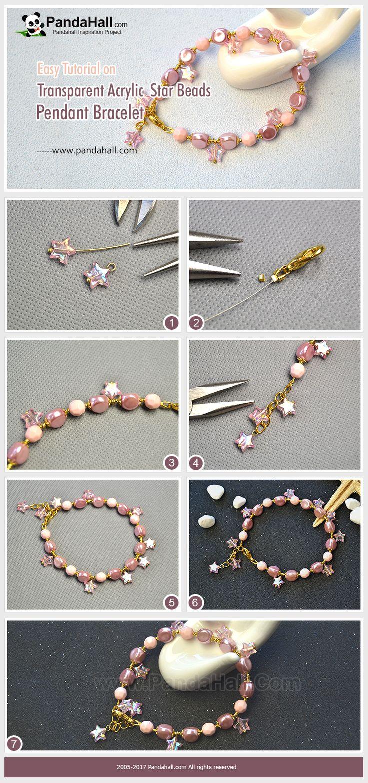 Pandahall tuto de bracelet rose en perles.