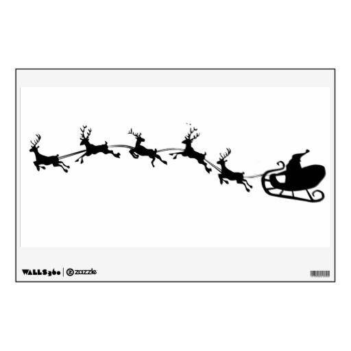 santa in sled silhouettes   santas sleigh and reindeer silhouette wall decal from Zazzle.com
