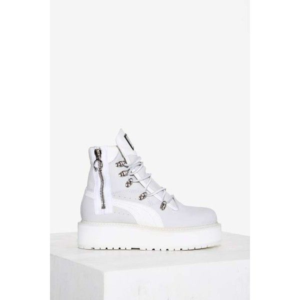 FENTY PUMA by Rihanna Fenty Leather Platform Sneaker Boot ($350) ❤ liked on Polyvore featuring shoes, boots, white, zipper boots, zip boots, leather shoes, leather platform shoes and white platform boots