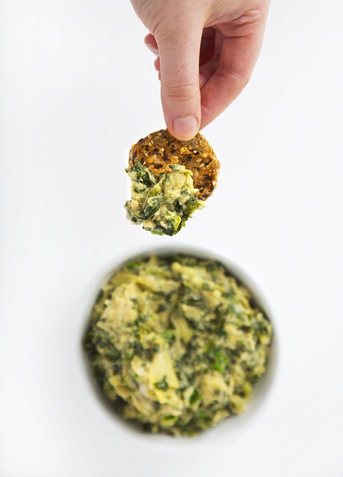 10-Minute Vegan Spinach Artichoke Dip   picklesnhoney.com