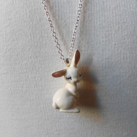 Eyelash Bunny Porcelain Necklace