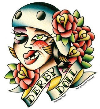 """Adam Potts - Roller Derby Girl Player autocollant Sticker - 4.5"""" x 5"""" - Weather Resistant, Long Lasting for Any Surface"""