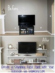 like this idea instead of an entertainment center ... Living Room Decor  Create a Stunning Focal Point with Your Television. My Tv wall is so boring. right next to my brick fireplace...what to do... I like the open shelving.