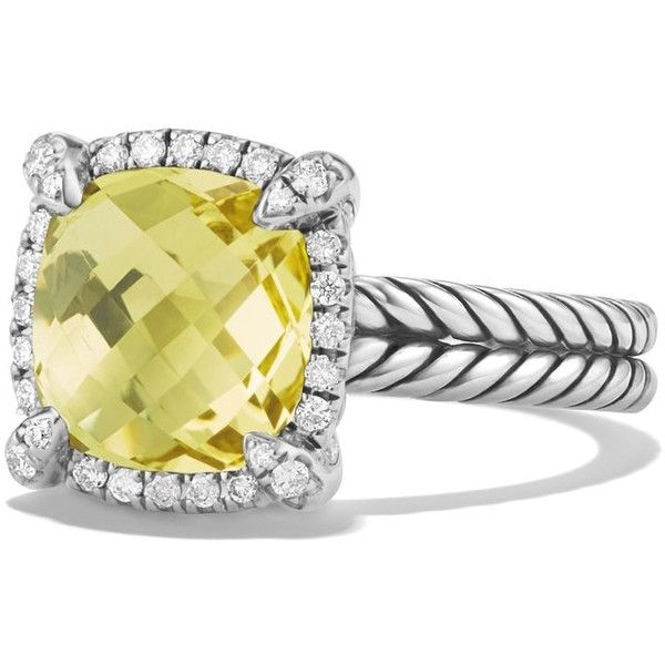 David Yurman Chatelaine Pave Bezel Ring with Lemon Citrine and... ($800) ❤ liked on Polyvore featuring jewelry, rings, diamond jewellery, bezel diamond ring, lemon jewelry, david yurman rings and lemon citrine ring