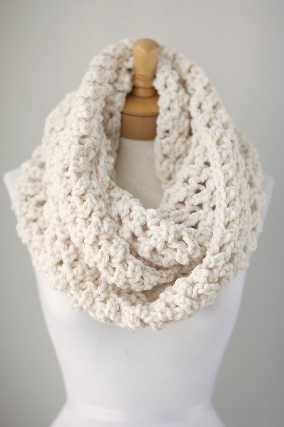 This chunky Off White or Cream infinity scarf was made from 100% quality Acrylic super chunky with amazing softness. I made the scarf with the 62 x 9