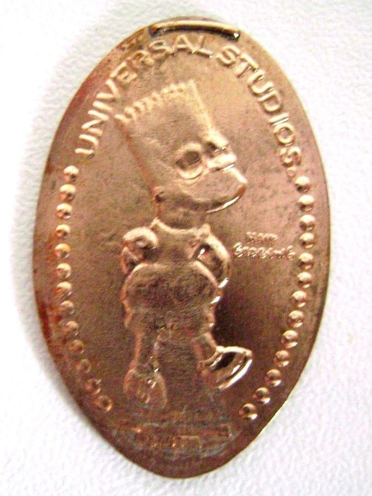 Elongated Pressed Penny Coin - The Simpsons - BART  - UNIVERSAL STUDIOS  FLORIDA