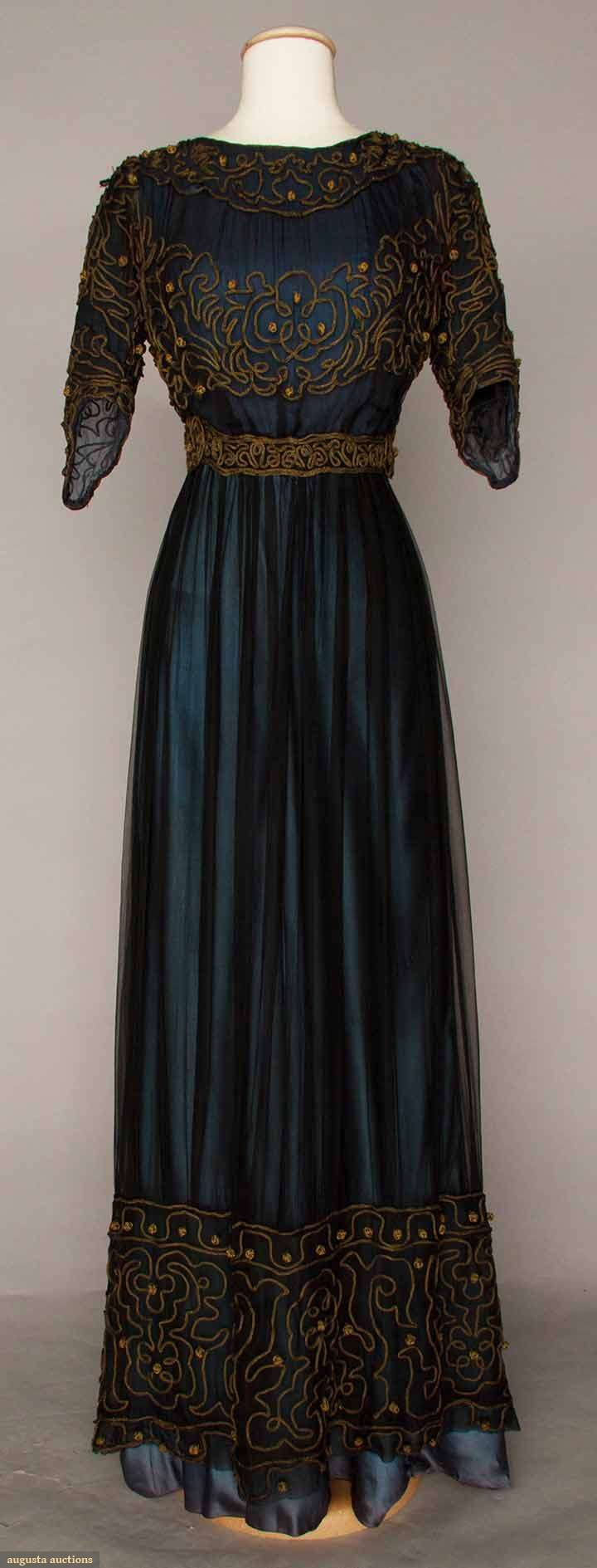Afternoon dress ca. 1905, Marine blue silk & chiffon dress with gold soutache. (looks more 1906-1910 to me)
