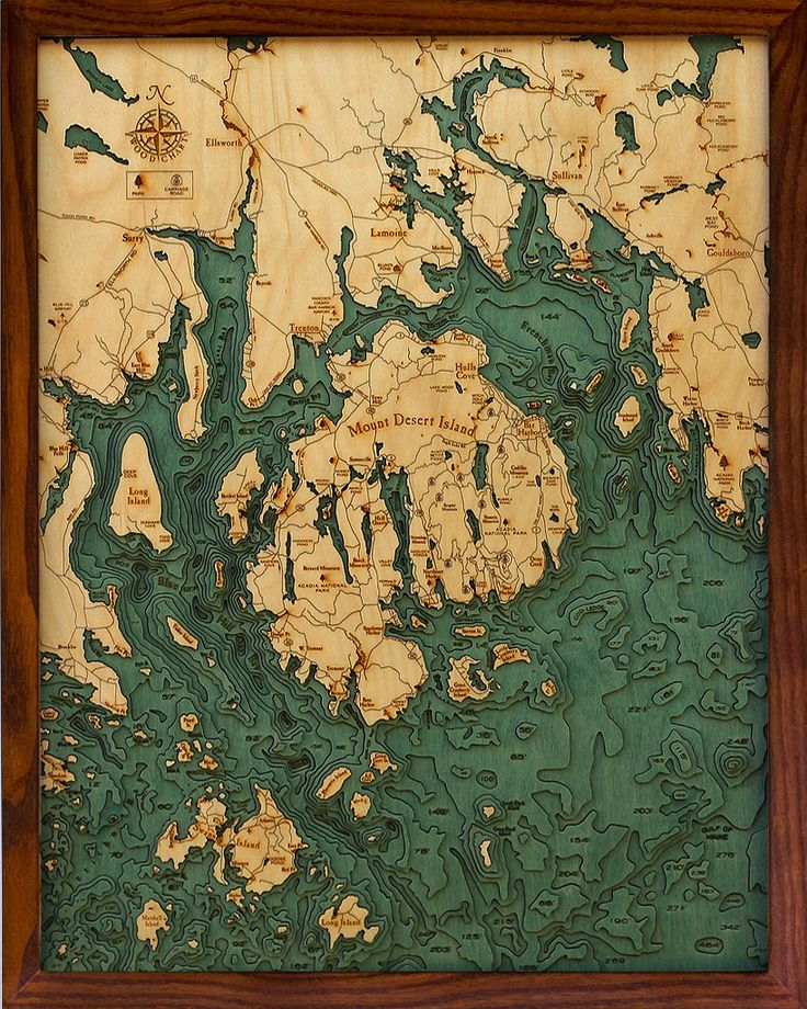 Topographical sea charts cut in birch from Below the Boat for your favorite sailor