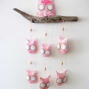 beautiful and unique on DTLL #pink #nursery #owl #mobile