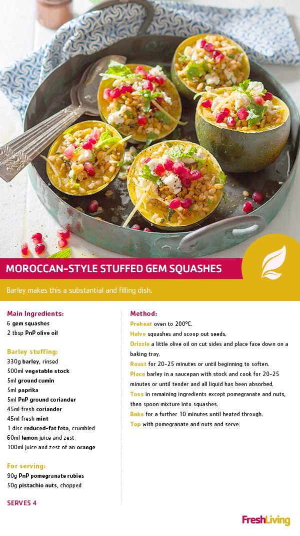 This Meat-free Monday, be a gem and help the planet. Have some squash stuffed with barley, feta and Moroccan spices! #meatfreemonday #dailydish #picknpay #freshliving