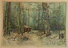 ANTIQUE ADIRONDACK PAINTING WATER COLOR LEAN TO SPRUCE BALSAM TREES CAMP