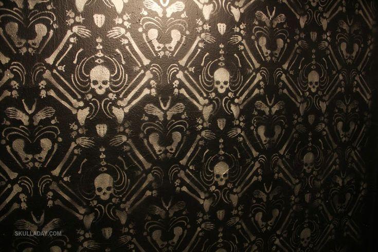 Free DIY  Skeleton Damask Stencil