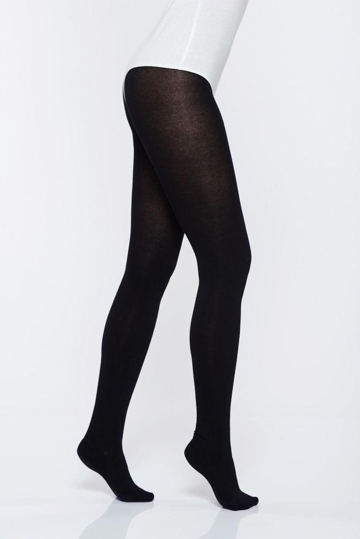 Black elastic cotton 220 den women`s tights with 3d effect, 220 den, runstop, elastic cotton, soft flat seam, 3D effect