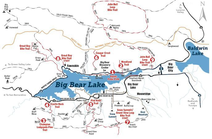 Hiking and Biking Trail Map Big Bear Lake