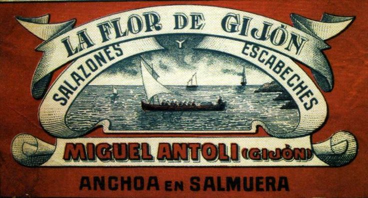 Antigua publicidad de LA FLOR DE GIJÓN, fábrica de salazones y escabeches de Gijón