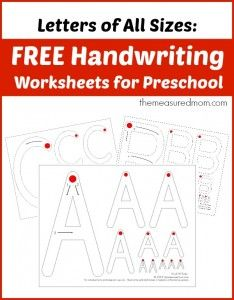 Free handwriting worksheets for preschool letters of all sizes the measured mom 234x300 Free handwriting pages for preschoolers (Letters of ...