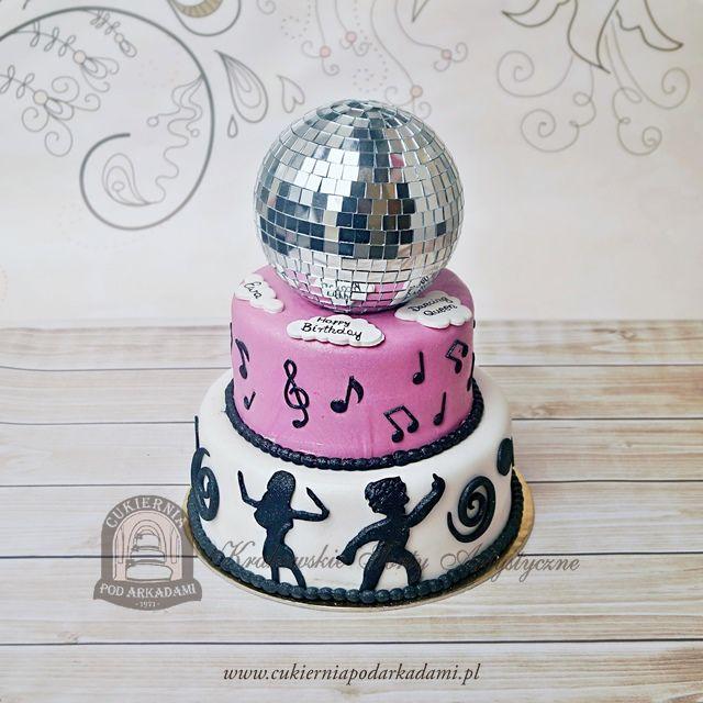 76BA. Tort z kulą dyskotekową. Disco Ball cake – 70s party theme.
