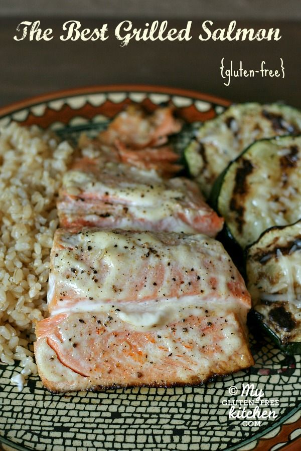 The Best Grilled Salmon {Gluten-free}  While I would recommend wild over farmed salmon (it would appear less red in color because, unlike farmed salmon, wild salmon is rarely treated with undisclosed food dye), this sounds delicious!