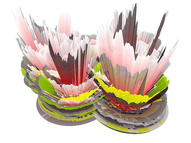 Stock data visualizations. This image shows historical stock price data plotted as 3D graphs.
