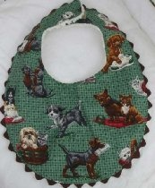 Dog Dogs Puppy Baby Bib Burp Cloth Green Boy Girl Unisex 5939