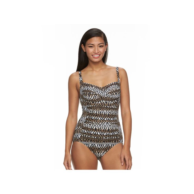 Women's Trimshaper Body Sculptor Control Printed One-Piece Swimsuit, Size: 16, Brown